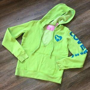 Pink lime green V neck sweatshirt